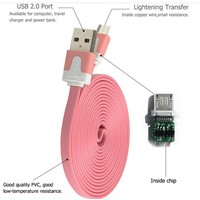 Colorful For iPhone Cable, Flat Noodle USB Cable for iPhone 4S Samsung 12cm 1m  1.5m 2m 3m 4m