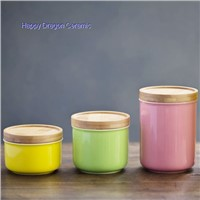 Color Glazed Ceramic Candle Jars With Bamboo Lid, Candle containers