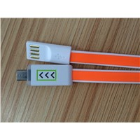 Colorful flat V8 micro usb cable for mobile phone with arrow lights