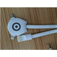 Promotional 2 In 1 USB cable charging for Iphone and Android