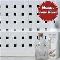 Matt and glossy mix basket weave bathroom tile