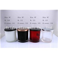 glass votive candle holder with metal lid for wholesale