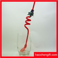 Chinese healthy plastic spoon drinking straw