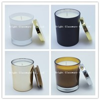 Hot sale new product glass candle jars with metal lid