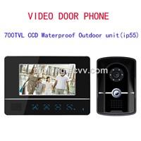 New design 7 Inch TFC Color 4-wire Video Door Phone,LCD Display Video door bell
