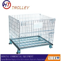 Warehouse Stacking Metal  Wire Mesh Container Storage Cage On  Wheels