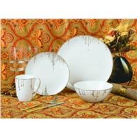 latest dress design 16pcs bone china decal dinnerware set
