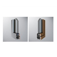 aluminum and wood window and door outside opening window