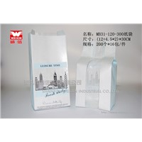 White kraft paper bag with clear window