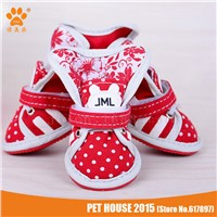 Polka Dot Canvas Outdoor Cute Small Dog Shoes Cat Sneaker Booties Rubber Sole