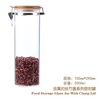 2000ml borosilicate glass jar with bamboo cap