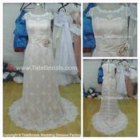 Sheath soften Lace cape sleeves bridal gown Zipper back wedding dress (AS1573)