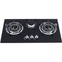 tempered glass  triple burner gas cooker  build in gas stove