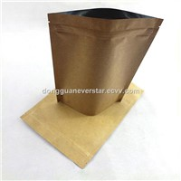 Stand Up Resealable Zipper Kraft Paper Bag With Bottom Gusset
