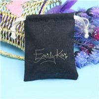 eco natural thick quality black canvas drawstring bag with gold logo printing