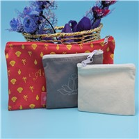 customzied size fashion fully printed cotton zipper pouch wholesale