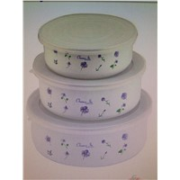 3 pcs enamel  bowl with plastic lid