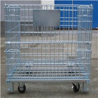 Zinc plated stackable wire container with wheel manufacture