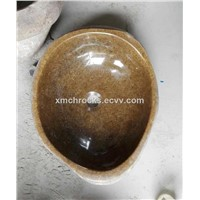 Yellow River Stone sink, natural river stone vessel sink