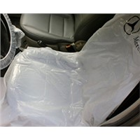 disposable plastic car seat cover in white color