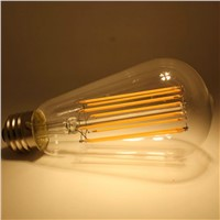 4W 6W 8W 2200K 2700K Edisone Style Filament Light ST64 LED Vintage Light with clear glass cover