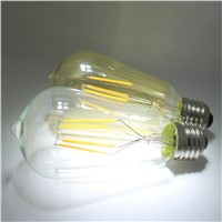 4W 6W 8W Edisone Style Filament Light ST64 LED Vintage Light with Clear Amber Glass Cover