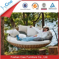 Round rattan outdoor bed outdoor swing hanging bed