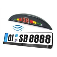Wireless European license plate parking sensor with three sensors and LED display