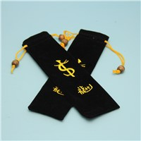 wholelsale black velvet string pouch with embroidery 3*18cm for pen