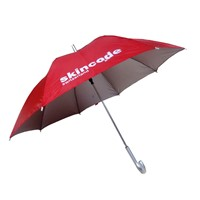 23 inches red color logo print stick uv umbrella with sunscreen