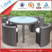 Direct manufacture outdoor PE rattan garden sets glass dining table chairs
