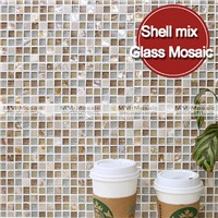 MM-Mosaic 15x15mm glass tile mosaic mixed with mother of pearl shell