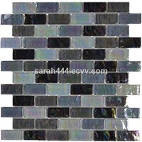 Grey blend iridescent crystal glass mosaic for swimming pool