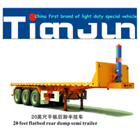 TIANJUN 3 Axle 20ft/40ft Rear Container Dump Flat Bed Trailer