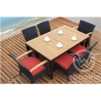 GW3061 Modern garden furniture rattan dining table set with teak top