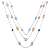 fahion alloy Silver Plated Multi color glass beads Layer necklace