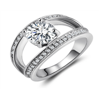fanshion alloy genuine swarovski element crystal silver ring