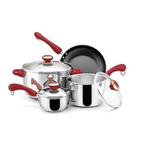 PAULA DEEN 7-PIECE STAINLESS STEEL COOKWARE SET POTS and PANS RED HANDLE NEW