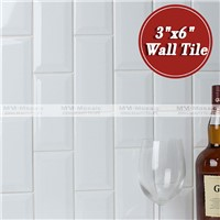 "In stock 3""x6"" kitchen bevelled edge ceramic wall tile subway tile"