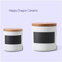 White And Black Ceramic Candle Containers with Bamboo lid, ceramic candle jars