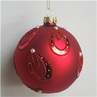 Happy Red Christmas Glass Ball Hand Painting Hanging Glass Globe