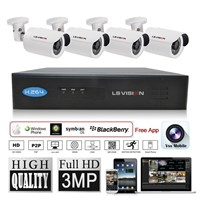 LS Vision 4 Channel POE Network Video Recorder Nvr System Kit with 4pcs IR Bullet Camera