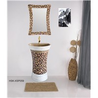 New Design Resin Bathroom Wash Hand Basin with Dressing Mirror