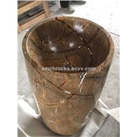 Rain Forest Brown pedestal sink, marble pedestal basin