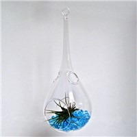 Creative Water Drop Shaped Glass Terrarium with one open and 2 small holes Hanging Glass Vase