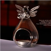 Clear Glass Angel Candle Holder and Vase Beautiful Christmas Day Decoration China Factory