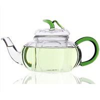 Pumpkin Shaped Glass Teapot with color handle and leaf lid Bar Teashop Tea and coffee Tools