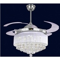 Hidden Acrylic Blades Ceiling Fans with Chandelier Crystal LED Light