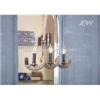Hotel hemp rope rural pendant Nordic Europe wrought black iron chandelier