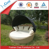 Outdoor patio furniture leisure furniture rattan round daybed with canopy